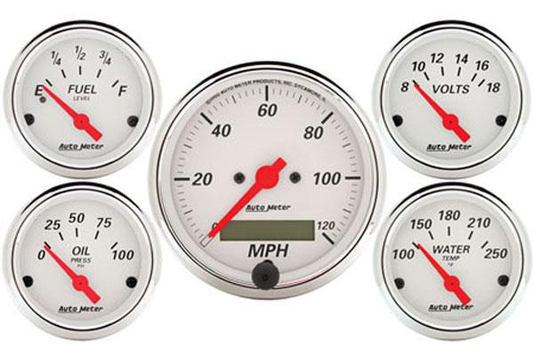 auto meter street rod arctic white 1302