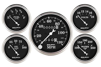 autometer street rod old tyme black gauges 1708
