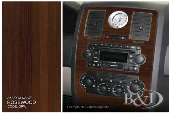 B&I Dash Kits in Rosewood, 2D Flat Dash Kit - Large Set
