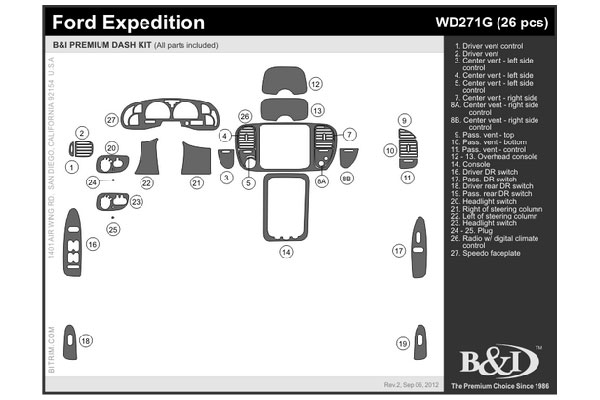 1999 Ford Expedition Wood Dash Kits   B&I WD271G DCF   B&I Dash Kits