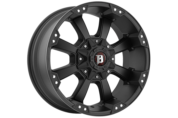 ballistic off road 845 morax wheels flat black sample