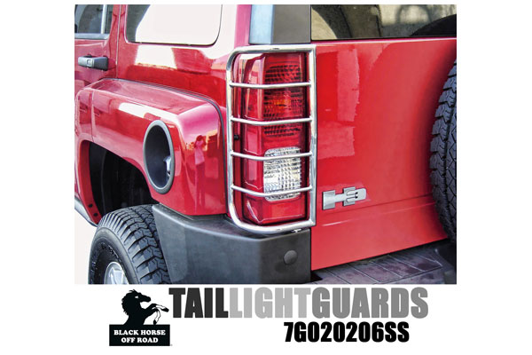 Black Horse Off Road Tail Light Guards in Polished