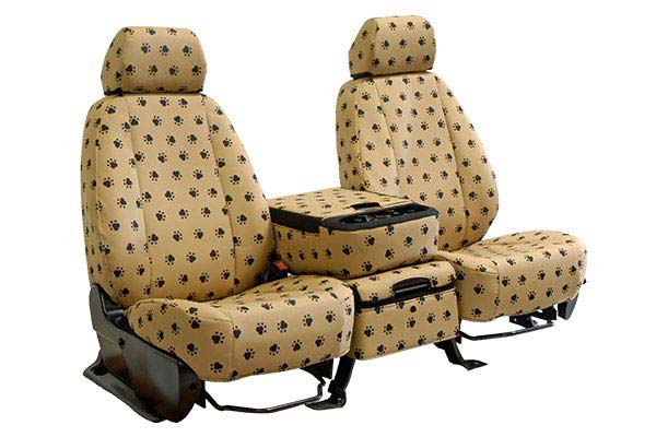 caltrend pet print canvas seat covers front beige sample