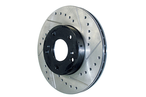 centric premium high carbon oe design drilled slotted brake rotors left