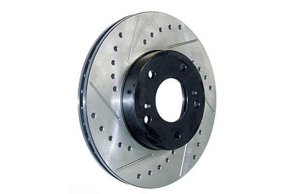 centric premium high carbon oe design drilled slotted brake rotors right
