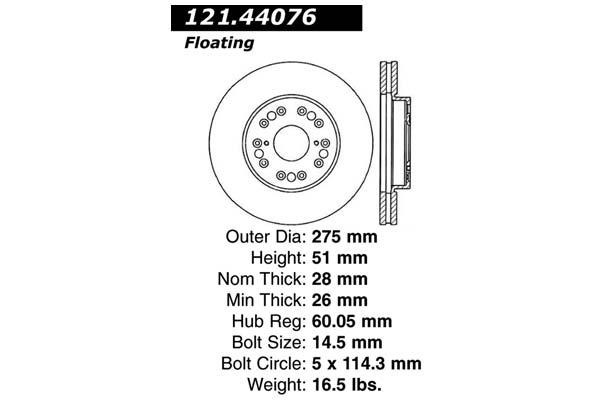 centric 121.44076 dia