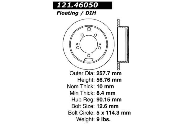 centric 121.46050 dia