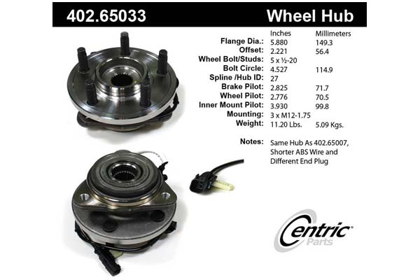 Centric centric premium wheel bearing free for 65033
