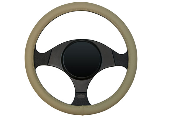 dash designs smooth leather steering wheel cover tan sample