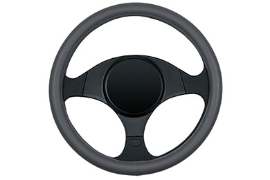 dash designs smooth leather steering wheel cover grey sample