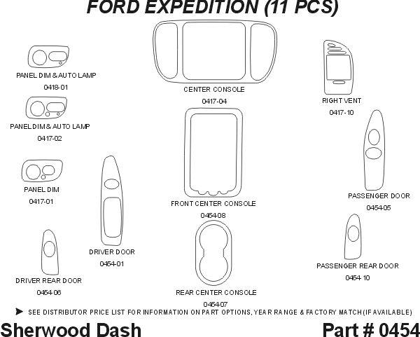 1997, 1998 Ford Expedition Wood Dash Kits   Sherwood Innovations 0454 N50   Sherwood Innovations Dash Kits