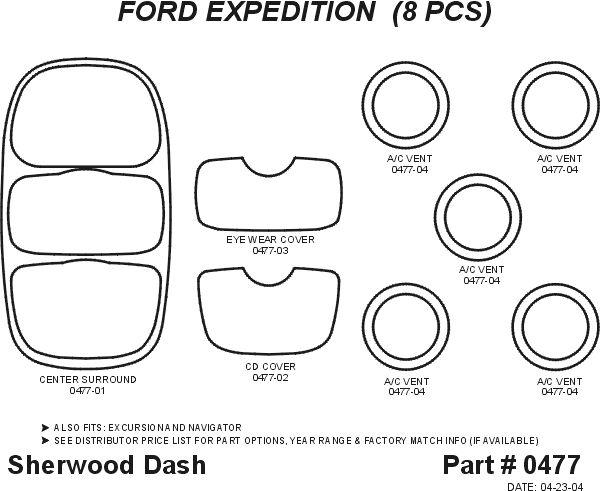 1997, 1998, 1999 Ford Expedition Wood Dash Kits   Sherwood Innovations 0477 N50   Sherwood Innovations Dash Kits