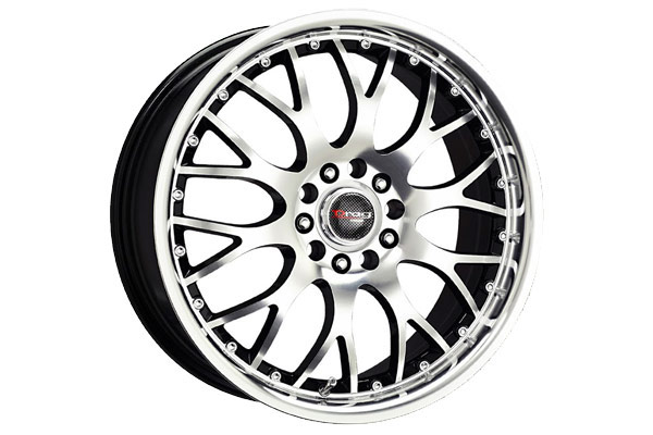 drag dr 19 wheels gloss black with machined face with machined lip