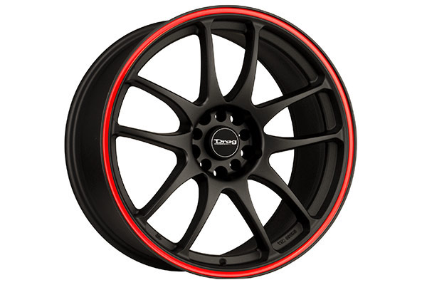drag dr 31 wheels flat black red stripe