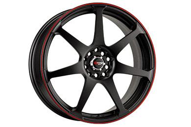 drag dr 33 wheels flat black red stripe