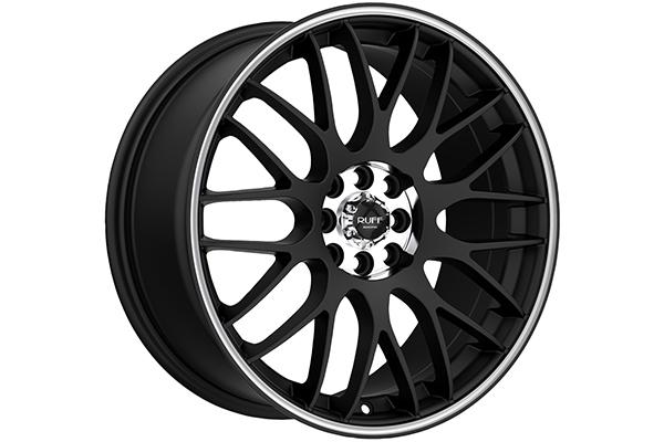 ruff racing r355 wheels flat black with machined stripe sample
