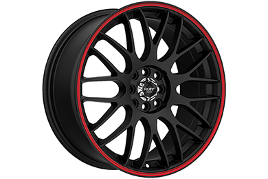 ruff racing r355 wheels flat black with red stripe sample