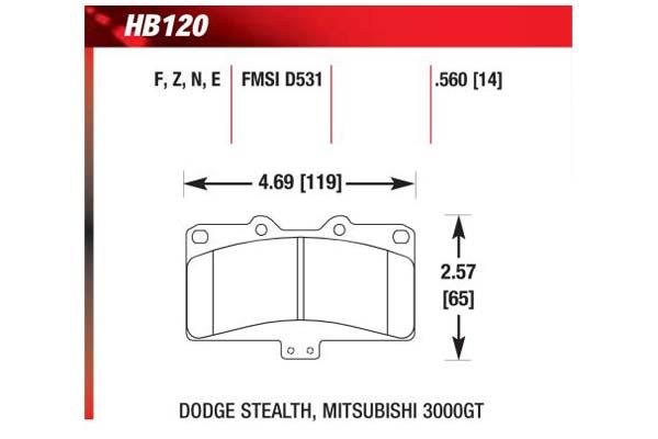 hawk brake pads diagrams HB120