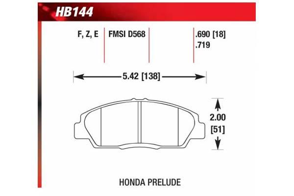 hawk brake pads diagrams HB144