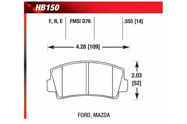 hawk brake pads diagrams HB150