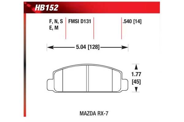 hawk brake pads diagrams HB152
