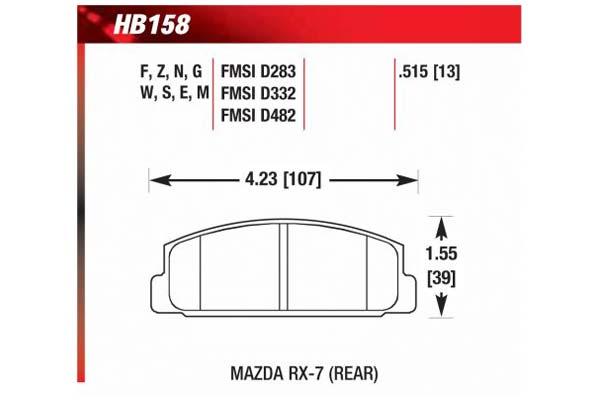 hawk brake pads diagrams HB158