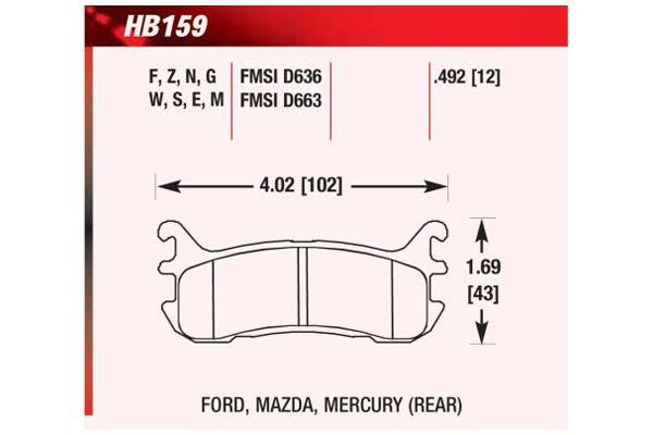 hawk brake pads diagrams HB159