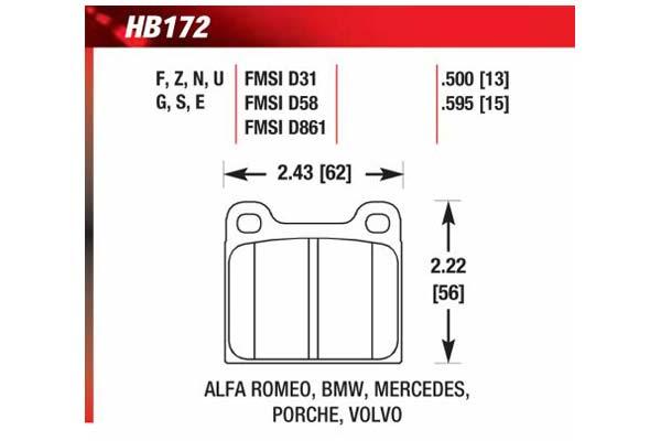 hawk brake pads diagrams HB172