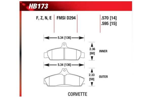 hawk brake pads diagrams HB173
