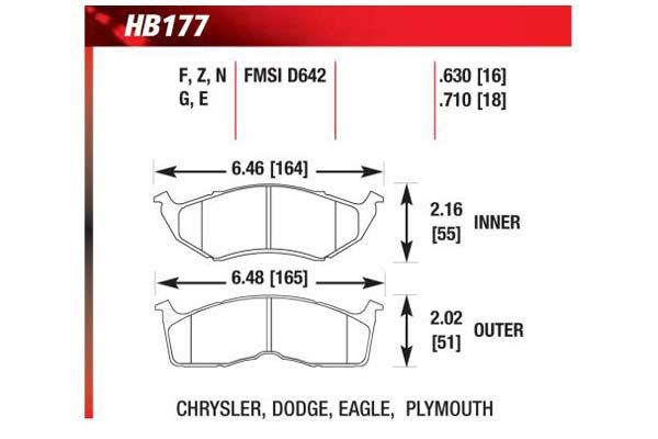 hawk brake pads diagrams HB177