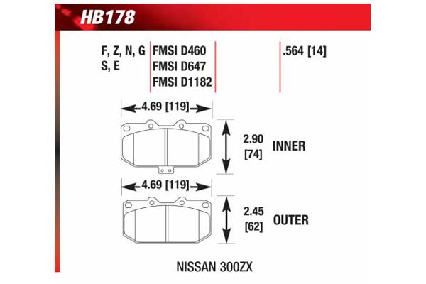 hawk brake pads diagrams HB178