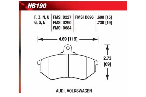 hawk brake pads diagrams HB190