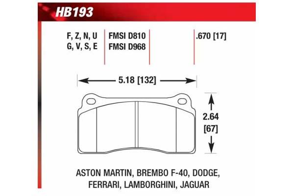 hawk brake pads diagrams HB193
