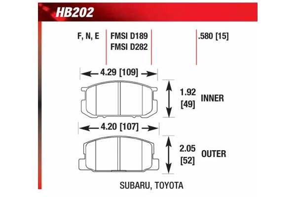 hawk brake pads diagrams HB202