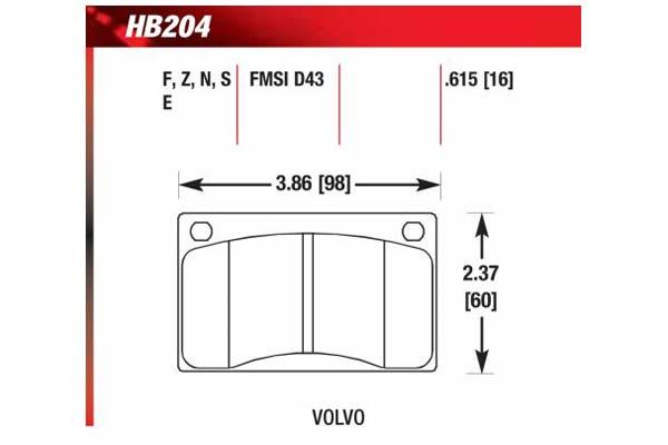 hawk brake pads diagrams HB204