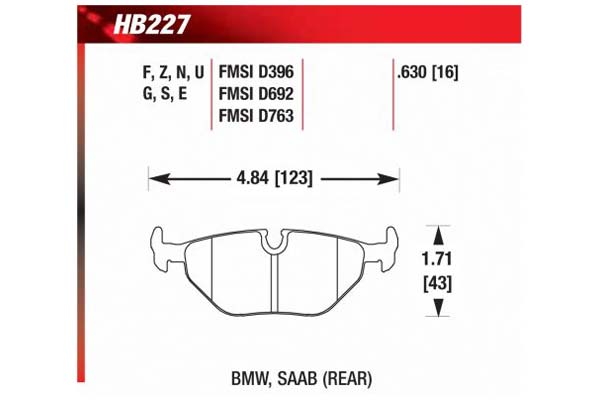 hawk brake pads diagrams HB227