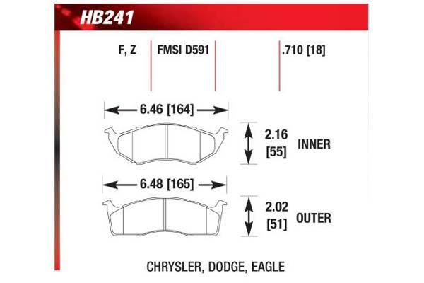hawk brake pads diagrams HB241