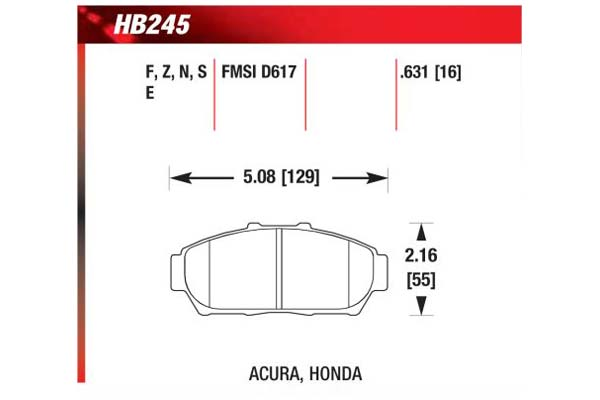 hawk brake pads diagrams HB245