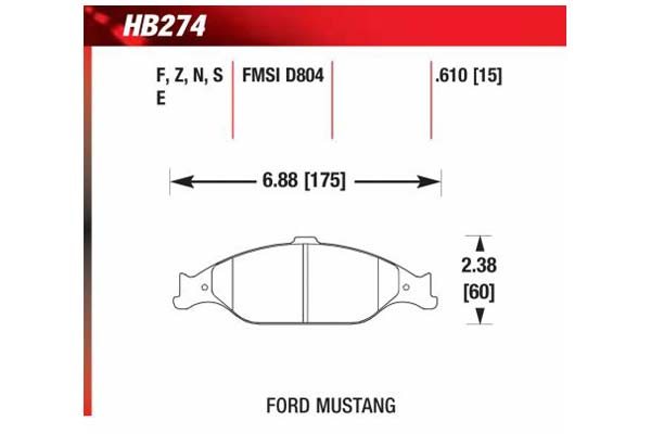 hawk brake pads diagrams HB274