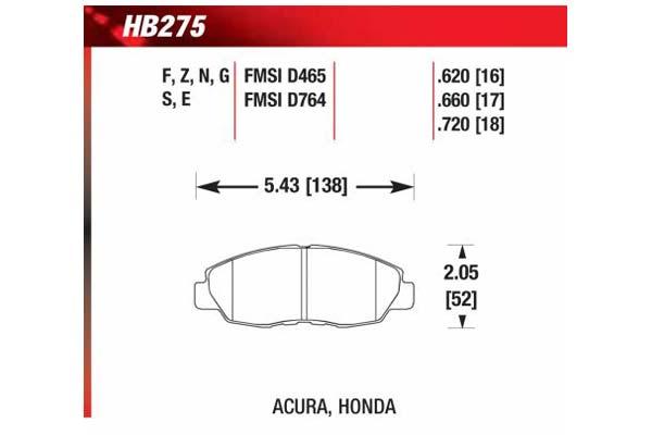 hawk brake pads diagrams HB275