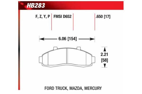 hawk brake pads diagrams HB283