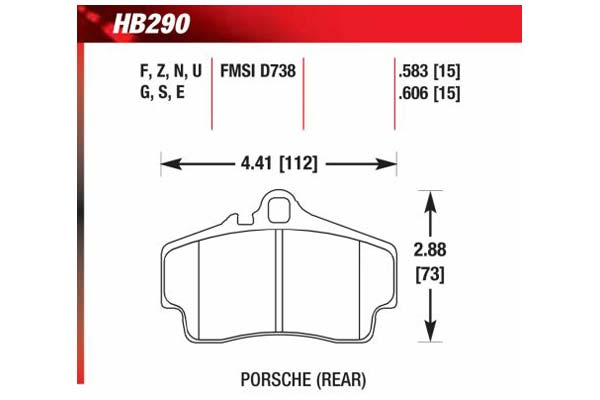 hawk brake pads diagrams HB290