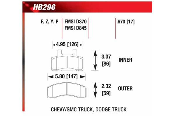 hawk brake pads diagrams HB296