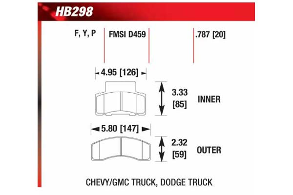 hawk brake pads diagrams HB298