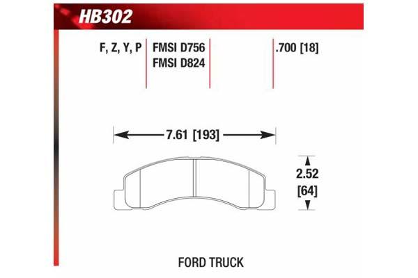 hawk brake pads diagrams HB302