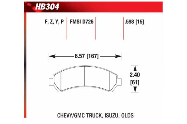 hawk brake pads diagrams HB304