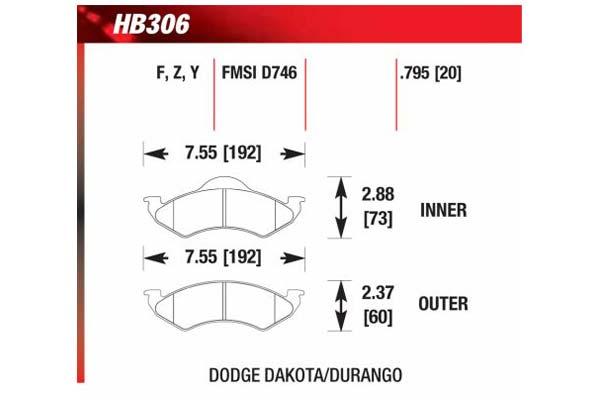 hawk brake pads diagrams HB306