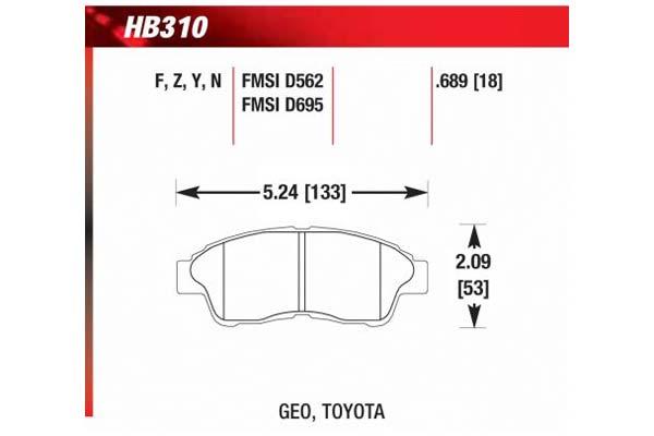 hawk brake pads diagrams HB310