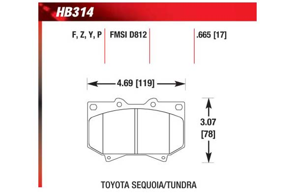 hawk brake pads diagrams HB314