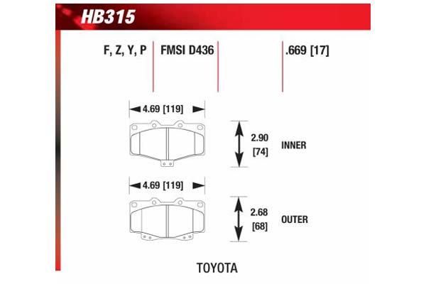 hawk brake pads diagrams HB315